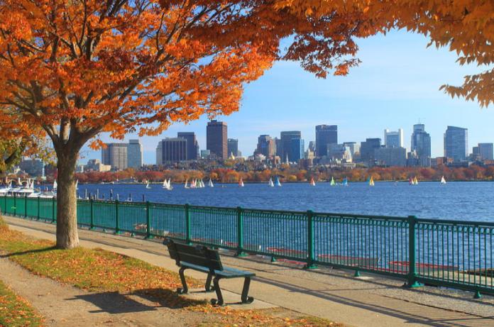 Boston Charles River In Autumn by John Burk