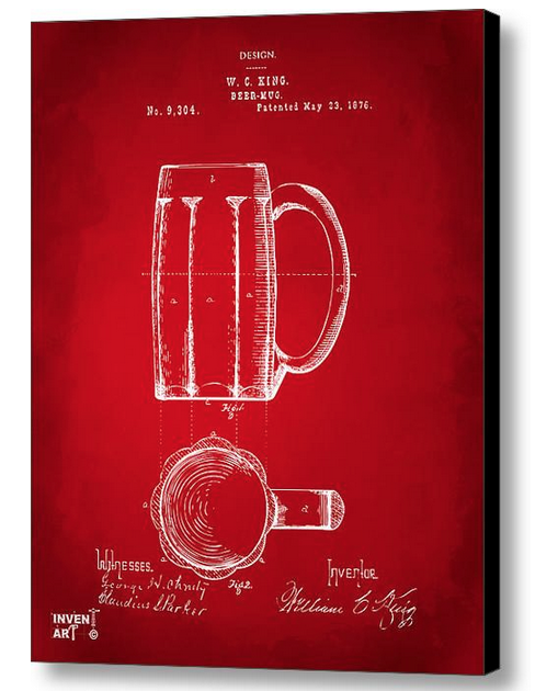 1876 Beer Mug Patent Artwork - Red by Nikki Marie Smith