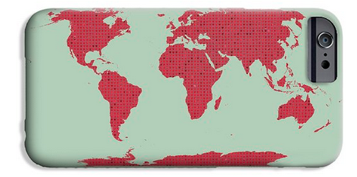 Tiny Red Hearts World Map by Daniel Hagerman